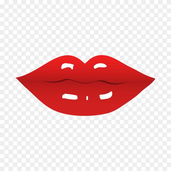 Beautiful Red lips premium vector PNG