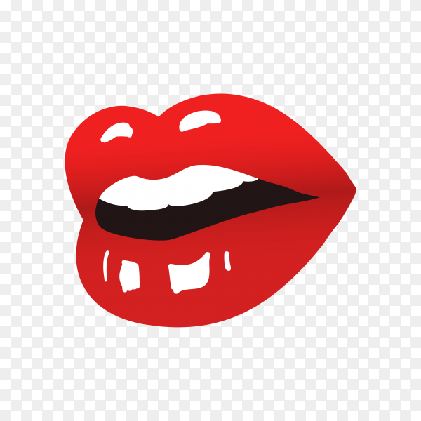 Beautiful red lips on transparent PNG