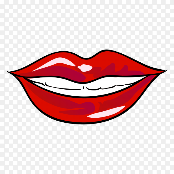 Beautiful women lips illustration on transparent background PNG
