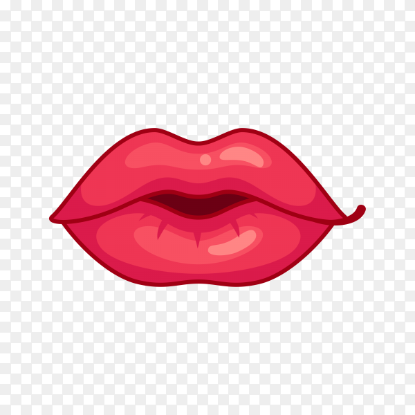 Female lips icon on transparent PNG