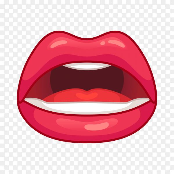 Female red lips illustration on transparent PNG
