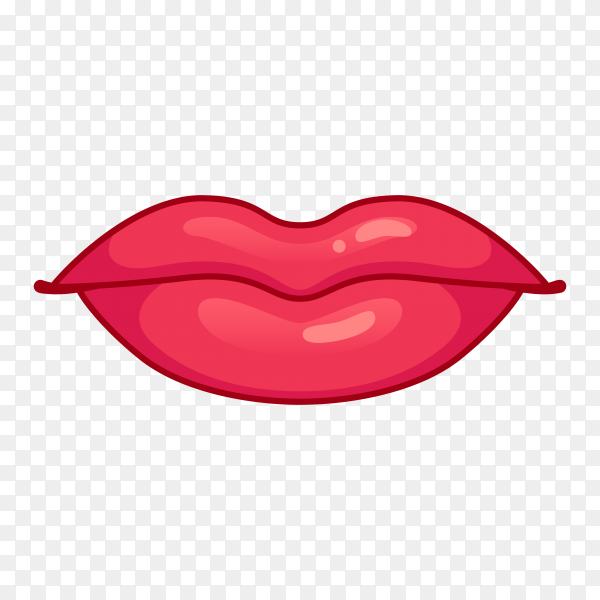 Female red lips premium vector PNG