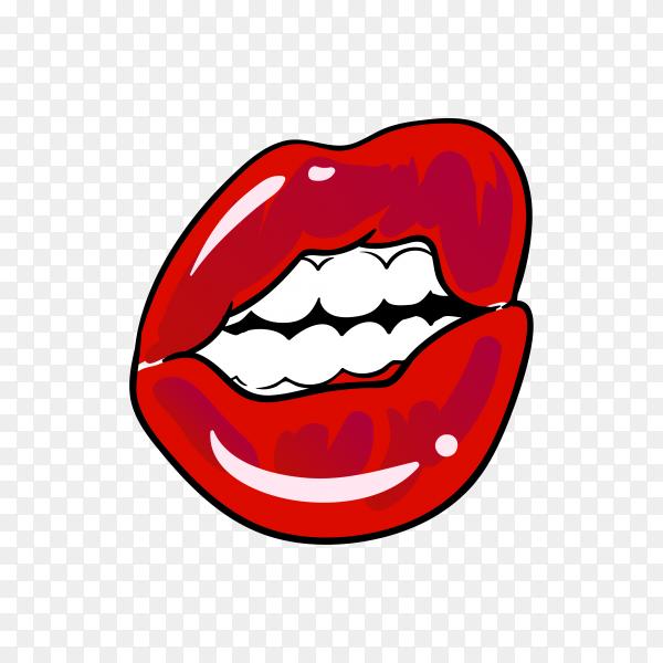 Flat design of female red lips premium vector PNG