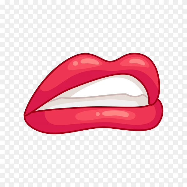 Hand drawing female lips on transparent background PNG