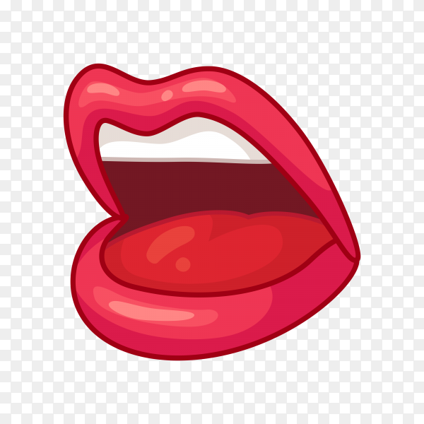 Hand drawn cartoon female mouth on transparent background PNG