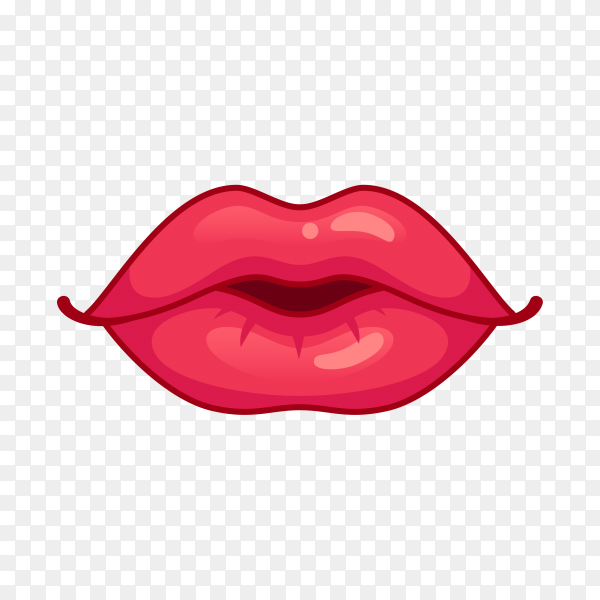Illustration of female red Lips premium vector PNG