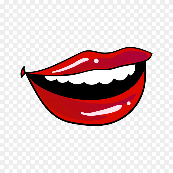 Illustration of female red lips on transparent background PNG