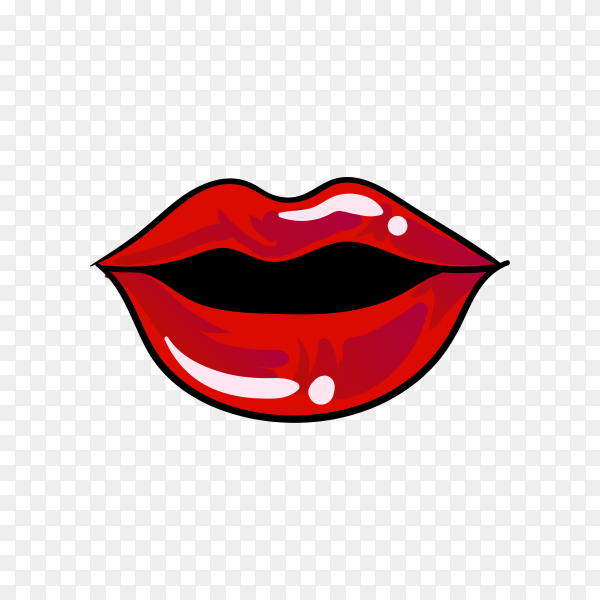 Kiss mouth lips sticker on transparent background PNG