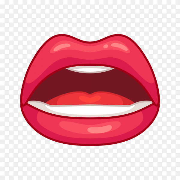 Open female mouth with red lips on transparent background PNG
