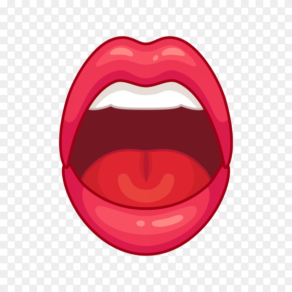 Open female mouth with red lips premium vector PNG