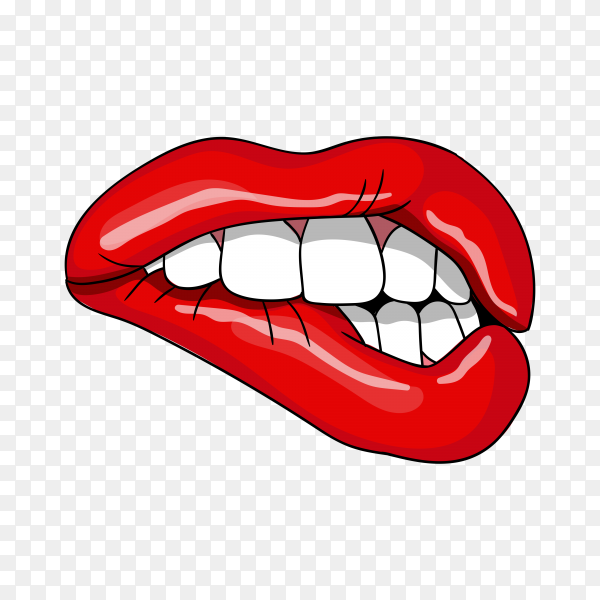 Open mouth with red lips biting premium vector PNG