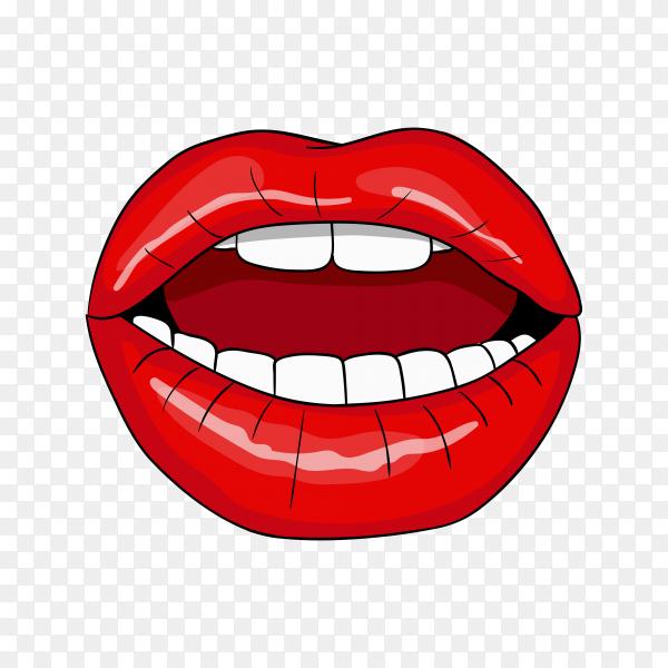 Realistic female lips Premium vector PNG