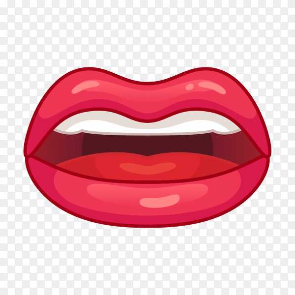 Realistic female lips on transparent background PNG