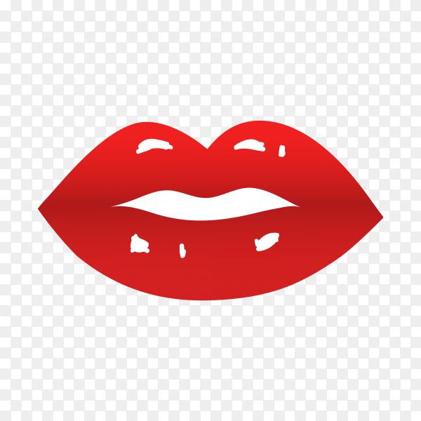 Realistic lips illustration on transparent background PNG