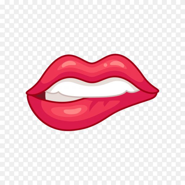 Red lip biting Premium Vector PNG