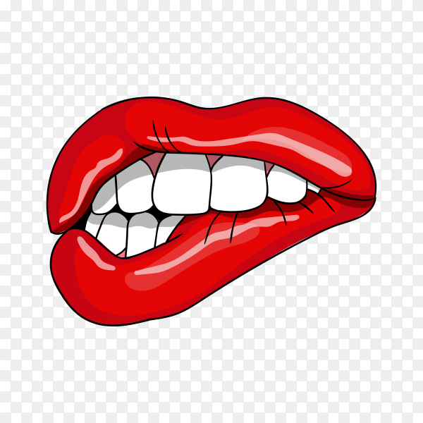 Red lips biting on transparent PNG