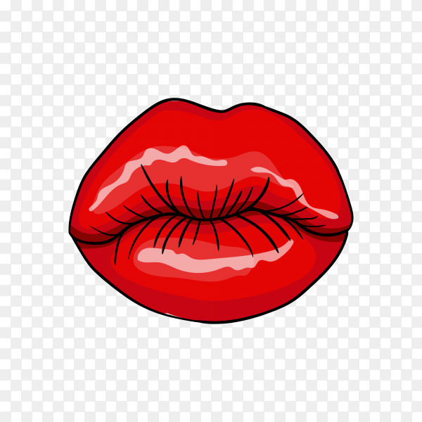 Red lips with flat design on transparent background PNG