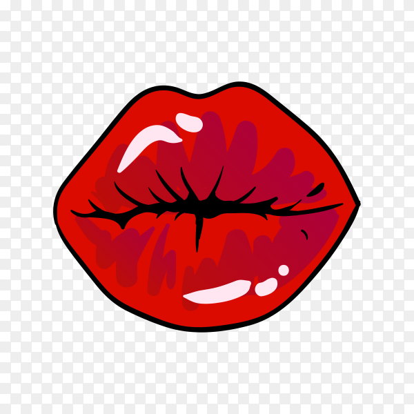 Red woman lips illustration isolated on transparent PNG