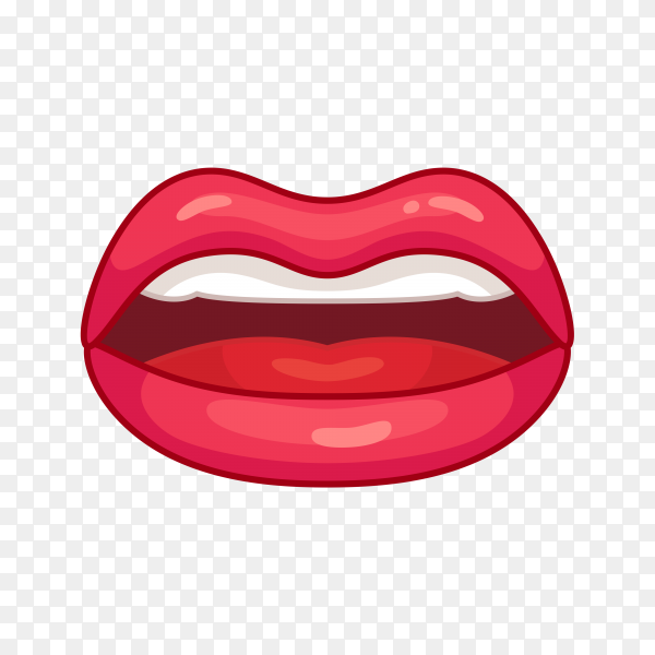 Red woman lips illustration isolated on transparent background PNG