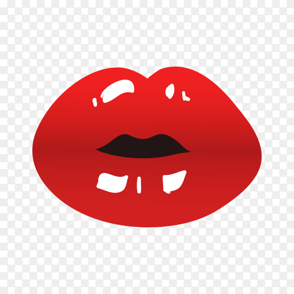 Red woman lips illustration isolated premium vector PNG