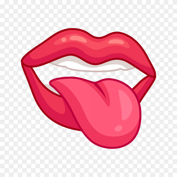 Red woman lips with tongue on transparent background PNG