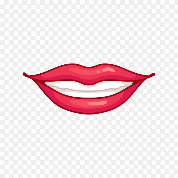 Smiling mouth with red lips Premium vector PNG