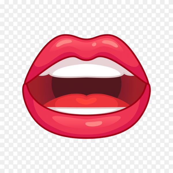 Women lips isolated on transparent PNG