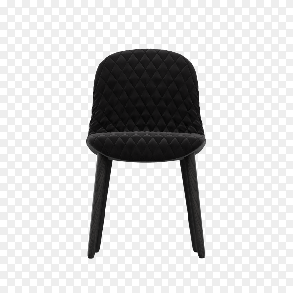 3D black modern chair on transparent background PNG