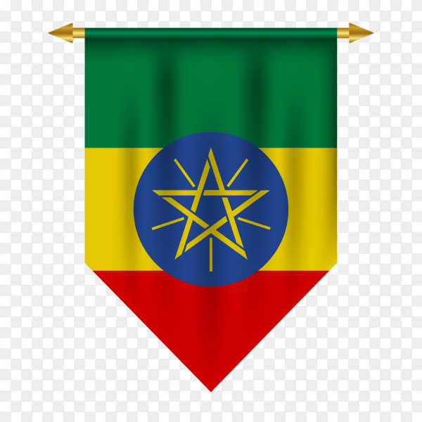 3D realistic pennant with flag of Ethiopia premium vector PNG