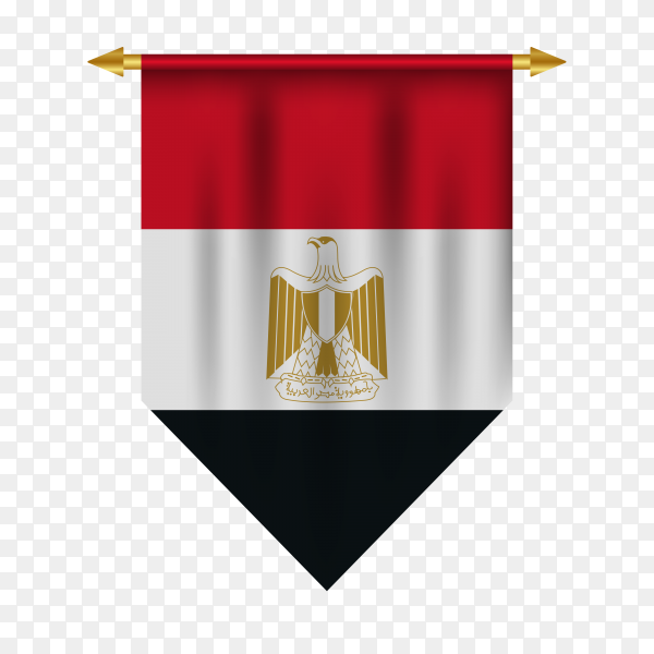 3D realistic pennant with Egypt flag on transparent background PNG