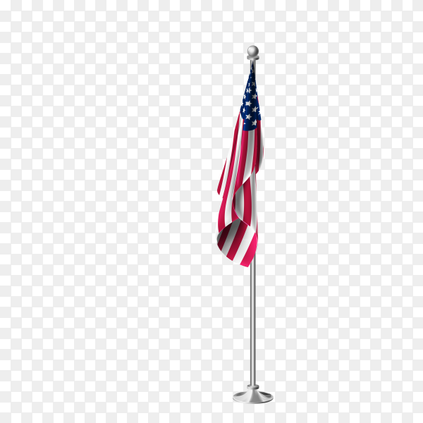 3d realistic flag of united states of America on steel pole premium vector PNG