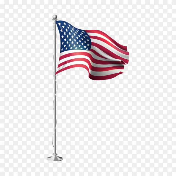 3d realistic flags of united states of america on steel pole on transparent background PNG