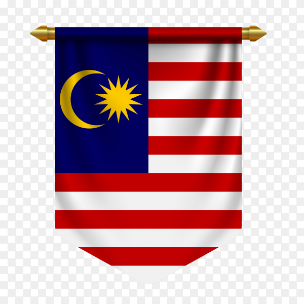 3d realistic pennant with flag of Malaysia on transparent background PNG
