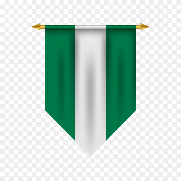 3d realistic pennant with flag of Nigeria on transparent background PNG