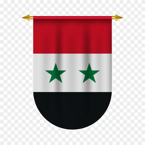 3d realistic pennant with flag of Syria on transparent background PNG