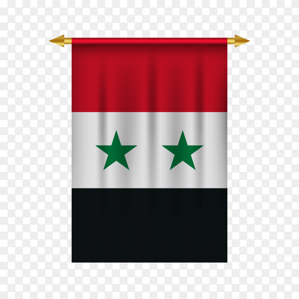 3d realistic pennant with flag of Syria premium vector PNG