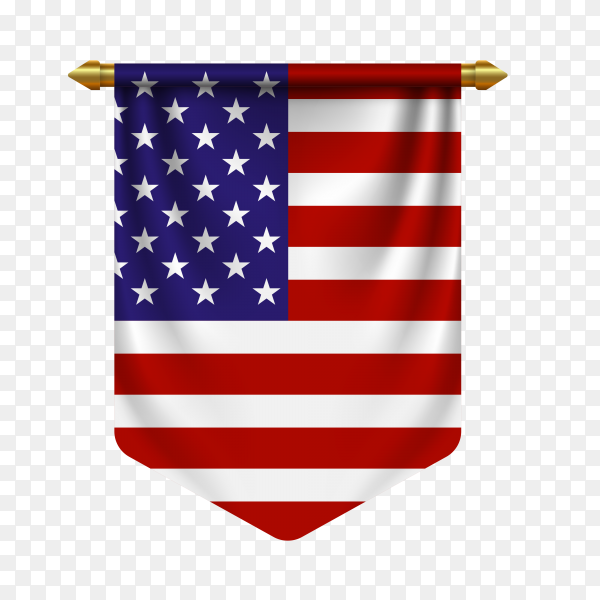 3d realistic pennant with flag of united states on transparent background PNG