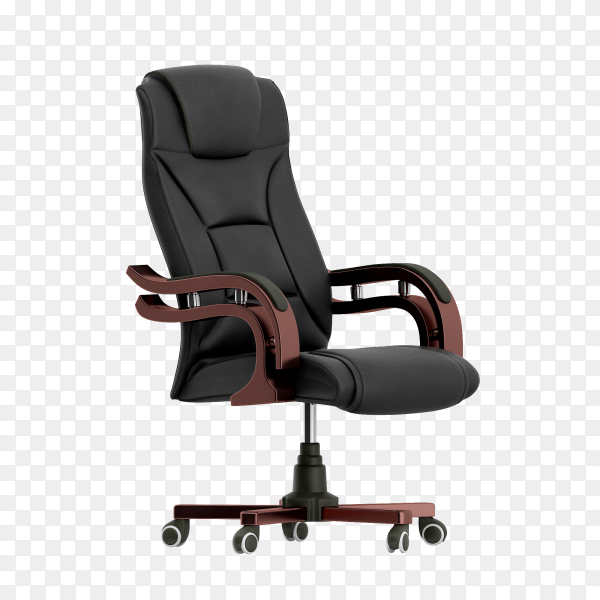 A black office chair on transparent background PNG