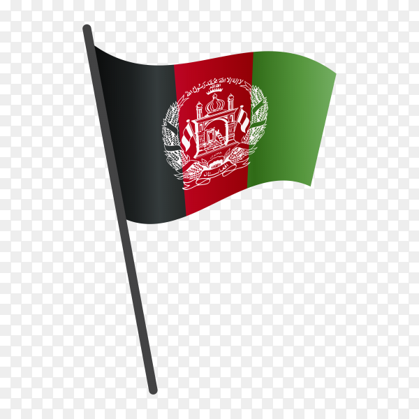 Afghanistan flag waving on a flagpole on transparent background PNG