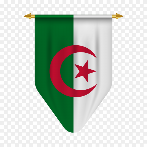Algeria flag isolated on transparent background PNG