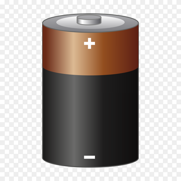 Alkaline battery isolated on transparent background PNG