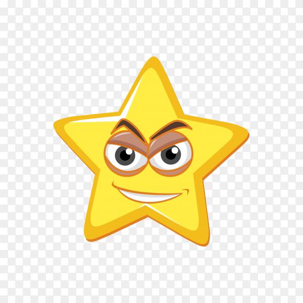 Angry Star emoji face premium vector PNG
