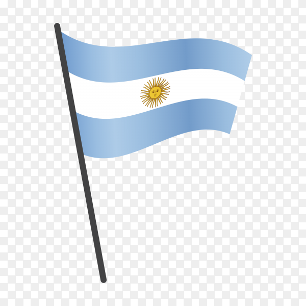 Argentina flag waving on a flagpole on transparent background PNG