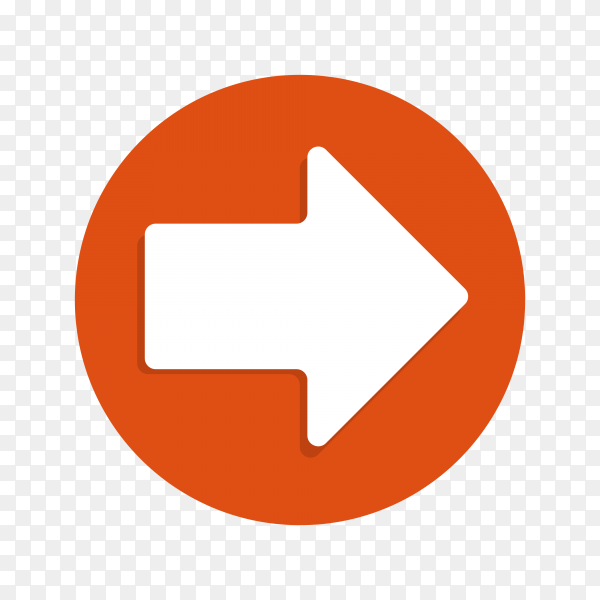 Arrow icon in flat design on transparent PNG