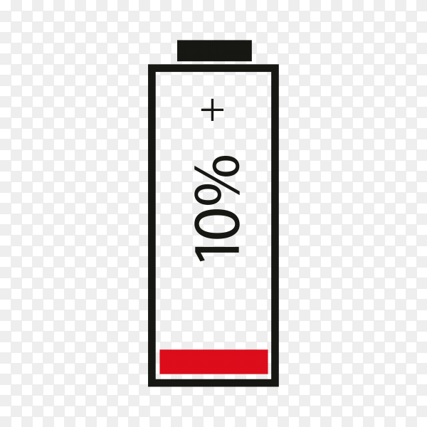 Battery 10% charging on transparent background PNG