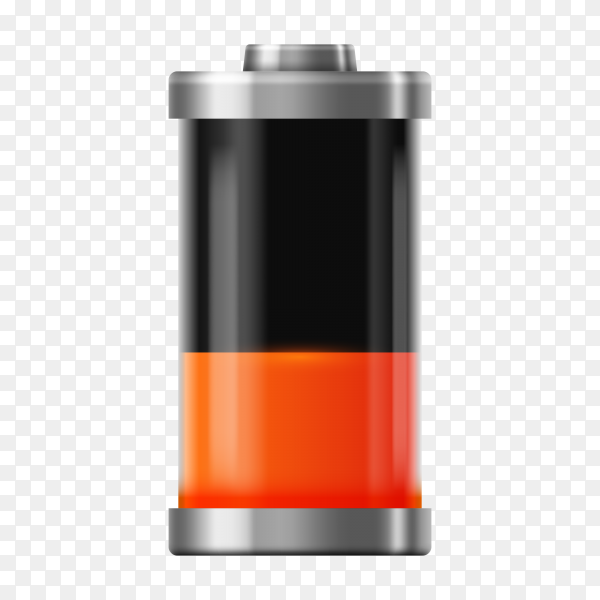 Battery Low charge sign on transparent background PNG