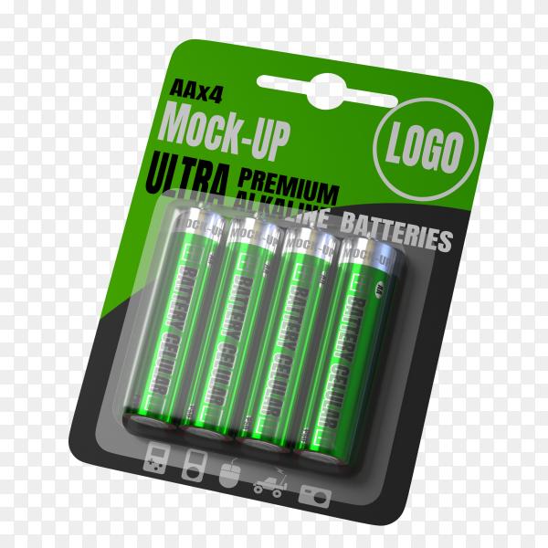 Battery cellular packet mockup 3d render on transparent background PNG