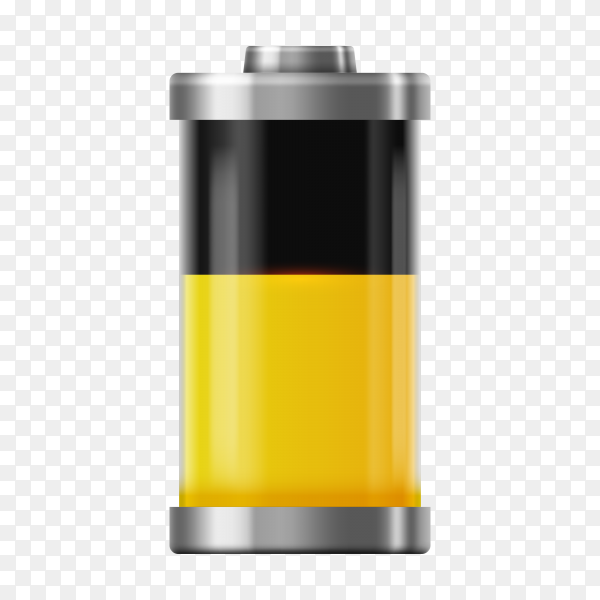 Battery charge icon, energy charger level on transparent background PNG