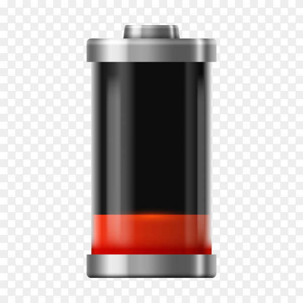 Battery charge icon with Low recharge sign for mobile phone on transparent background PNG
