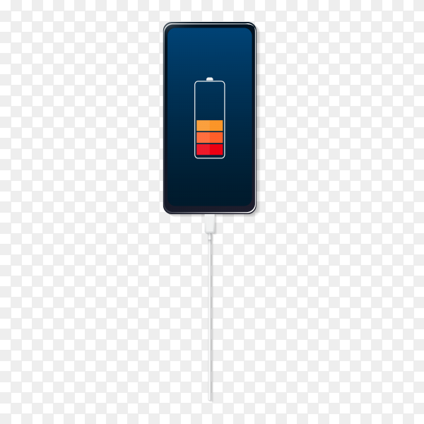 Battery charge icons. Low battery power indicator, charging empty battery. Smartphone charge level indication on transparent background PNG